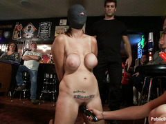 Alexia Rae's tits are tied while she's abused and fucked in public