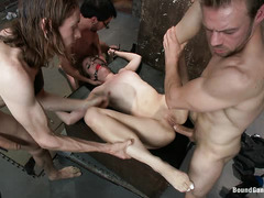 Bound honey Zarena Summers gets DPed during a rough gangbang