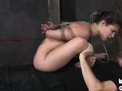 Being tied up and made to blow her Master gets this slut so excited