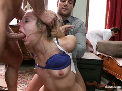 Lesbian cutie Chastity Lynn is gangbanged by guys teaching her a lesson