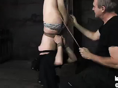 Pretty brunette takes her punishment and dildo fucking wonderfully
