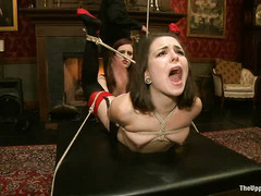 New Domme Iona Grace takes slave Juliette March for a painful spin