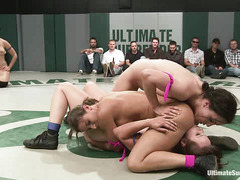 Four ladies compete during an action-filled, public display of wrestling