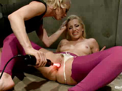 Ashley Fires allows Lorelei Lee to shock her wet pussy into submission