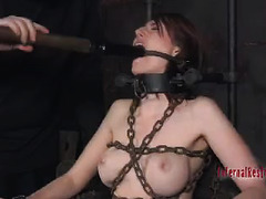 A painfully bound temptress is made to jerk and squirm in orgasm