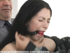An innocent Russian babe is accosted by the police and brutally fucked