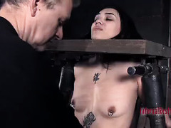 A loud and tattooed hottie is restrained and punished until she screams