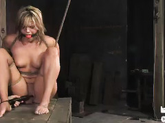A blonde vixen is face fucked by her Dom while tightly bound and suspended