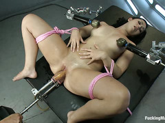 Angell Summers cries in delight as fucking machines plow her greedy holes