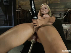 Anal-loving cutie Jessie Rogers uses this fucking machine on both holes