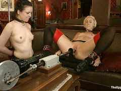 Two slave girls work hard to please and entertain their Master