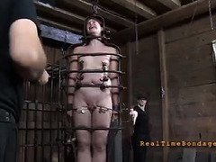 A pretty slut cries as her ass is whipped and her pussy tormented