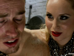 Slave boy Leo is dominated by Aiden Starr and made to suck cock
