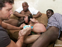 Petite honey Krissie Dee is forcefully stripped and fucked by 5 guys