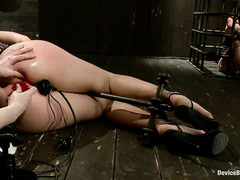 Restrained hottie Chastity Lynn has both holes stuffed during whipping