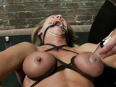 Yummy MILF Simone Sonay withstands some hardcore BDSM punishment