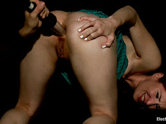 Anal slut Calico has her asshole pried open during sexy electroplay