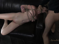 A dominated woman is brutally bound and fucked by her Master