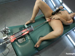 The sybian and other toys give Bella Luciano several amazing orgasms