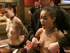 Slaves Krysta Kaos and Skin Diamond withstand clothespins and humiliation