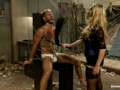Mistress Aiden Starr uses electricity and a dildo on her new boytoy