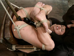 Hogtied honey Scarlet Banks begs for orgasm through her pain