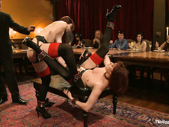 Guests of this erotic brunch get to see one sexy slave fuck another