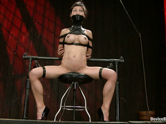 Abused beauty Tia Ling screams from behind her gag during punishment