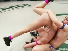 Tiffany Tyler and Cheyenne Jewel fondle each other while wrestling