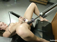 Fucking machines make Abby Cross squirt during multiple orgasms