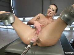 Hottie Ariel X takes all that these brutal fucking machines offer