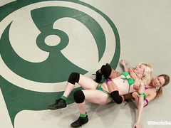 Two gorgeous and strong blondes battle it out on the wrestling mat
