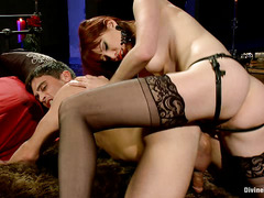 A bound stud has his prostate milked by the beautiful Maitresse Madeline