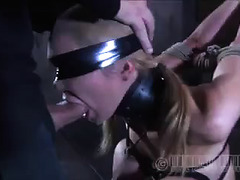A gagged cutie with blonde hair is forced to sit on a sybian