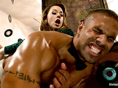 Feisty Chanel Preston has her way with a big, muscled black guy