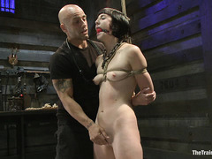 Bound and suspended babe Coral Aorta receives her harshest punishment yet