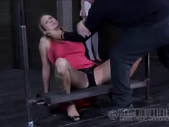 Two Doms use their canes to make this blonde sub cry out in pain