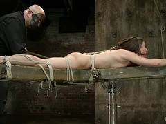 Sexy slut Casey Calvert experiences pleasure and pain while hogtied