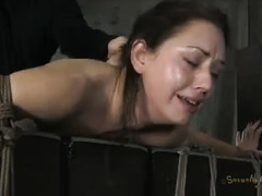 A brunette honey is bound, whipped and fucked hard by her Master