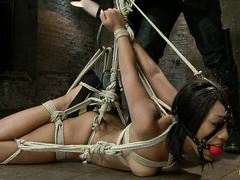 Bound ebony Leilani Leeane is bound and made to orgasm repeatedly