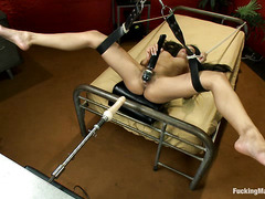 Hot babe Jasmine Rain uses bondage and dildos to get herself off