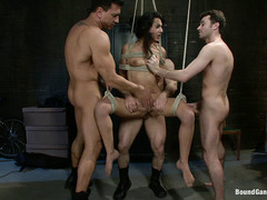 Birthday girl Lou Charmelle is tied up and fucked hard by dudes