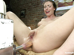 Charming slut Casey Calvert cums over and over again with machines