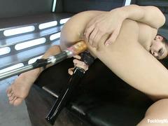 Fucking machines bring Sara Luvv's petite body to orgasm time and again