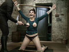 Bound slut Annika gets ass fucked by a dildo while tied up