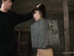 A bound Asian slut is made to cum over and over again by her Master