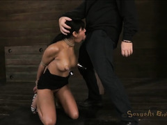 Multiple orgasms have this bound babe crying out for mercy