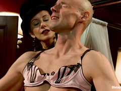 Maitresse Madeline dresses up Sean Spurt like the pathetic sissy he is