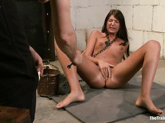 Slender brunette Cassandra Nix endures another day of training