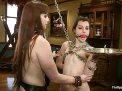 There's even more schooling for petite slave-in-training Kristine Kahill